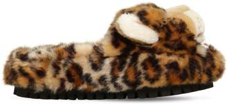 Dolce & Gabbana 30mm Faux Fur Leopard Slide Sandals