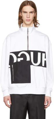 HUGO ホワイト リバース ロゴ パッチ ポケット ジップアップ スウェットシャツ