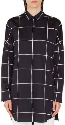 Akris Punto Checkered Button-Front Tunic