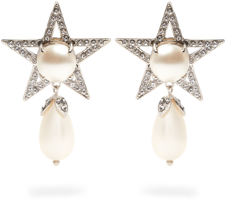 Miu Miu MIU MIU Star faux-pearl and crystal clip-on earrings