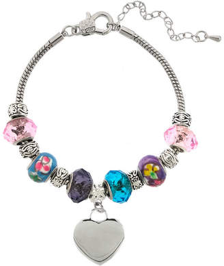 JCPenney DAZZLING DESIGNS Dazzling Designs Silver-Plated Artisan Glass Bead & Heart Charm Bracelet