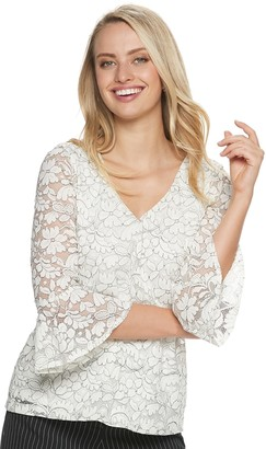 Elle Women's Stretch Lace V-neck Top