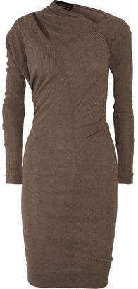 Vivienne Westwood Timans Cutout Draped Metallic Ribbed-knit Dress - Brown