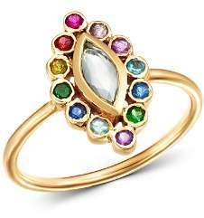 SheBee 14K Yellow Gold Sapphire, Blue Topaz, Amethyst & Tsavorite Ring