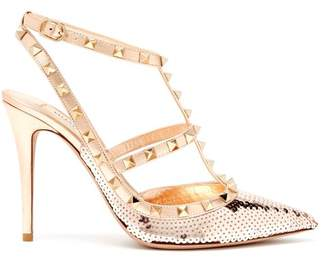 Valentino Rockstud Sequin Covered Leather Pumps - Womens - Rose Gold