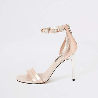 River Island Pink high heel diamante ankle strap sandal