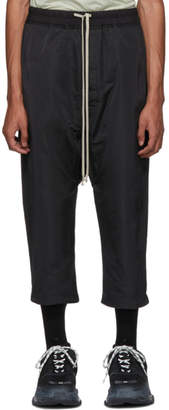 Rick Owens Black Satin Drawstring Cropped Trousers