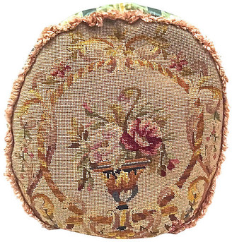 One Kings Lane Vintage Round Floral Needlepoint & Silk Pillow - Vermilion Designs