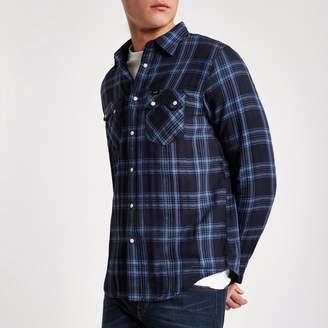 Lee Mens Blue check long sleeve Oxford shirt