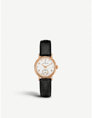 Rosegold CARL F BUCHERER 00.10306.03.26.01 Adamavi rose-gold sapphire crystal and leather watch