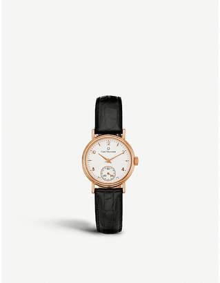 Rosegold CARL F BUCHERER 00.10306.03.26.01 Adamavi rose-gold sapphire crystal and leather watch