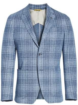 Canali Slim Fit Plaid Cotton & Linen Sport Coat