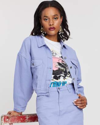 Missguided Cropped Oversized Denim Jacket