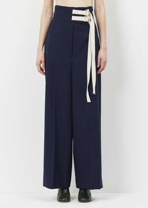 Marni deep blue / white wool and jute pant