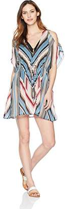 Amazon Brand - Coastal Blue Women's Swimwear Cold Shoulder Tie Waist Kaftan Cover Up