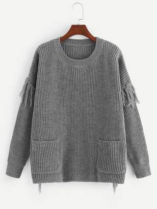 Shein Plus Pocket Front Fringe Embellished Sweater
