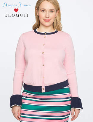 ELOQUII Draper James for Scallop Trim Cardigan