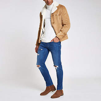 River Island Mid blue Dylan slim stretch ripped jeans