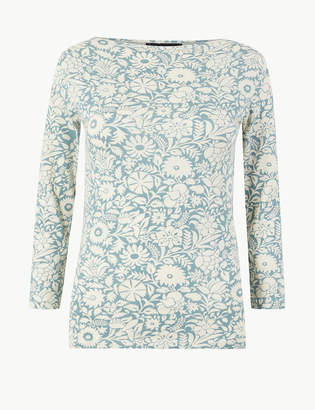 Marks and Spencer Cotton Rich 3/4 Sleeve Fitted T-Shirt