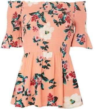 Dorothy Perkins Womens Pink Tropical Shirred Bardot Top