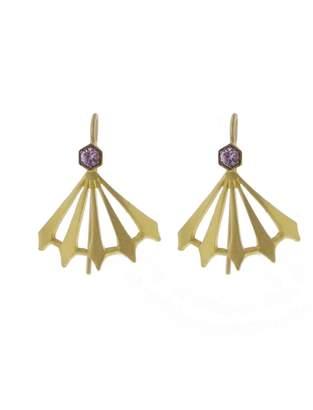Cathy Waterman Pink Sapphire Big Top Earrings - Yellow Gold