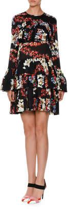 MSGM Long-Sleeve Tiered Floral Silk Mini Dress, Black/Multicolor