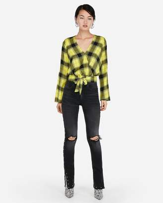Express Plaid Surplice Tie Front Bell Sleeve Top