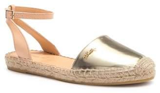 Longchamp Sunset Espadrille Ankle Strap Leather Flat