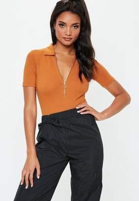 Missguided Orange Zip Up Polo Bodysuit