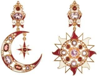 Papi Percossi Sun & Moon Red Stone Drop Earrings