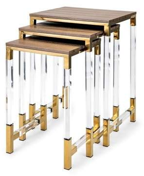 Everly Quinn Elle Acrylic Leg 3 Piece Nesting Tables