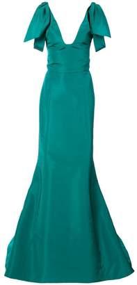 Oscar de la Renta draped-shoulder fluted gown