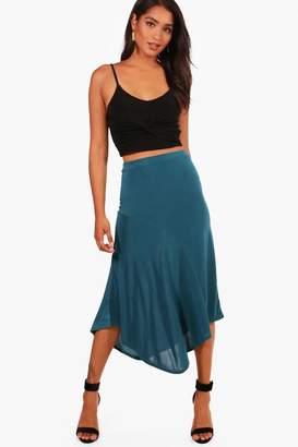 boohoo Sofia Slinky Asymetric Hem Midi Skirt