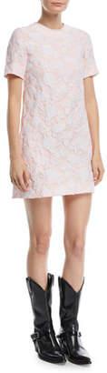 Calvin Klein Crewneck Short-Sleeve Rose-Jacquard A-Line Dress