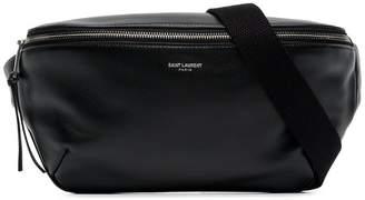 Saint Laurent black logo leather crossbody bag