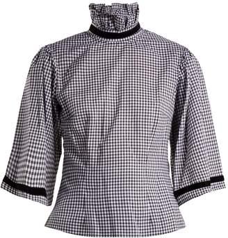 BATSHEVA Gingham high-neck blouse