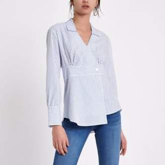 River Island Womens White stripe print long sleeve shirt