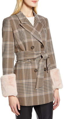 Halogen x Atlantic-Pacific Faux Fur Cuff Plaid Coat