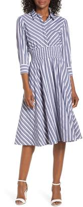 Eliza J Stripe Midi Shirtdress