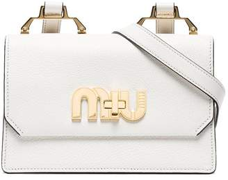 Miu Miu White logo leather shoulder bag