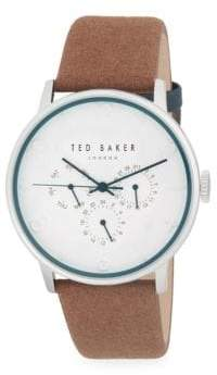 Ted Baker Stainless Steel Chronograph Leather-Strap Watch