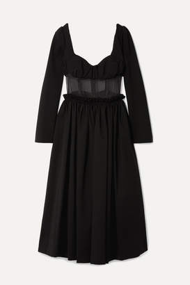 Rosie Assoulin Paneled Jersey And Silk-organza Midi Dress - Black