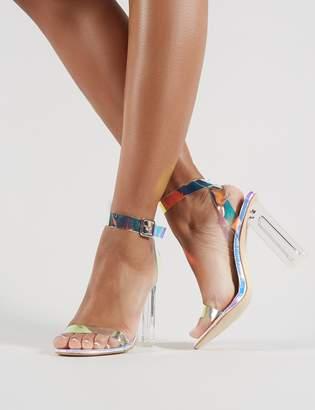 19f55afca98 Public Desire Alia Strappy Perspex High Heels in Iridescent
