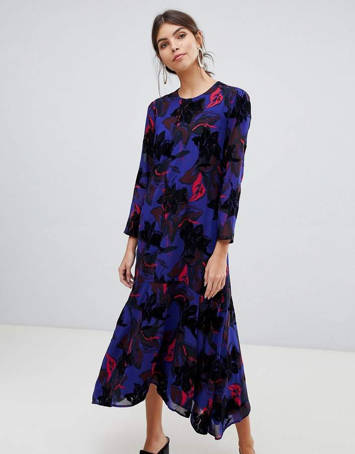 Y.A.S flocked floral asymetric midaxi dress
