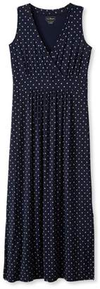 L.L. Bean L.L.Bean Womens Summer Knit Maxi Dress, Sleeveless Dot