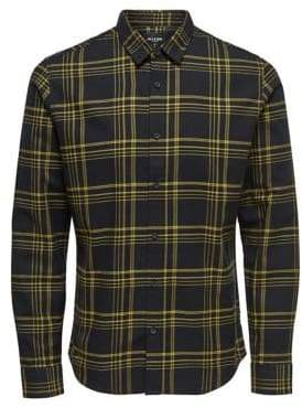 ONLY & SONS Checkered Flannel Button-Down Shirt