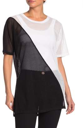 BCBGeneration Colorblocked Mesh Tunic Top