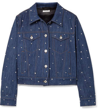 Miu Miu Crystal-embellished Denim Jacket - Mid denim
