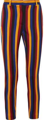 Rokh - Cropped Striped Cotton And Wool-blend Jacquard Slim-leg Pants - Navy