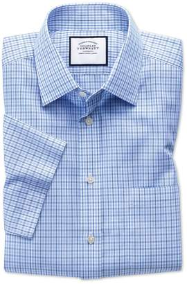 Charles Tyrwhitt Slim Fit Non-Iron Poplin Short Sleeve Blue and Sky Blue Cotton Dress Shirt Size 14.5/Short